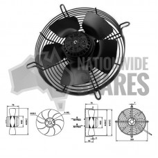 """AC401 10"""" Axial Fan 2E-250mm .40a 55W 2300rpm"""